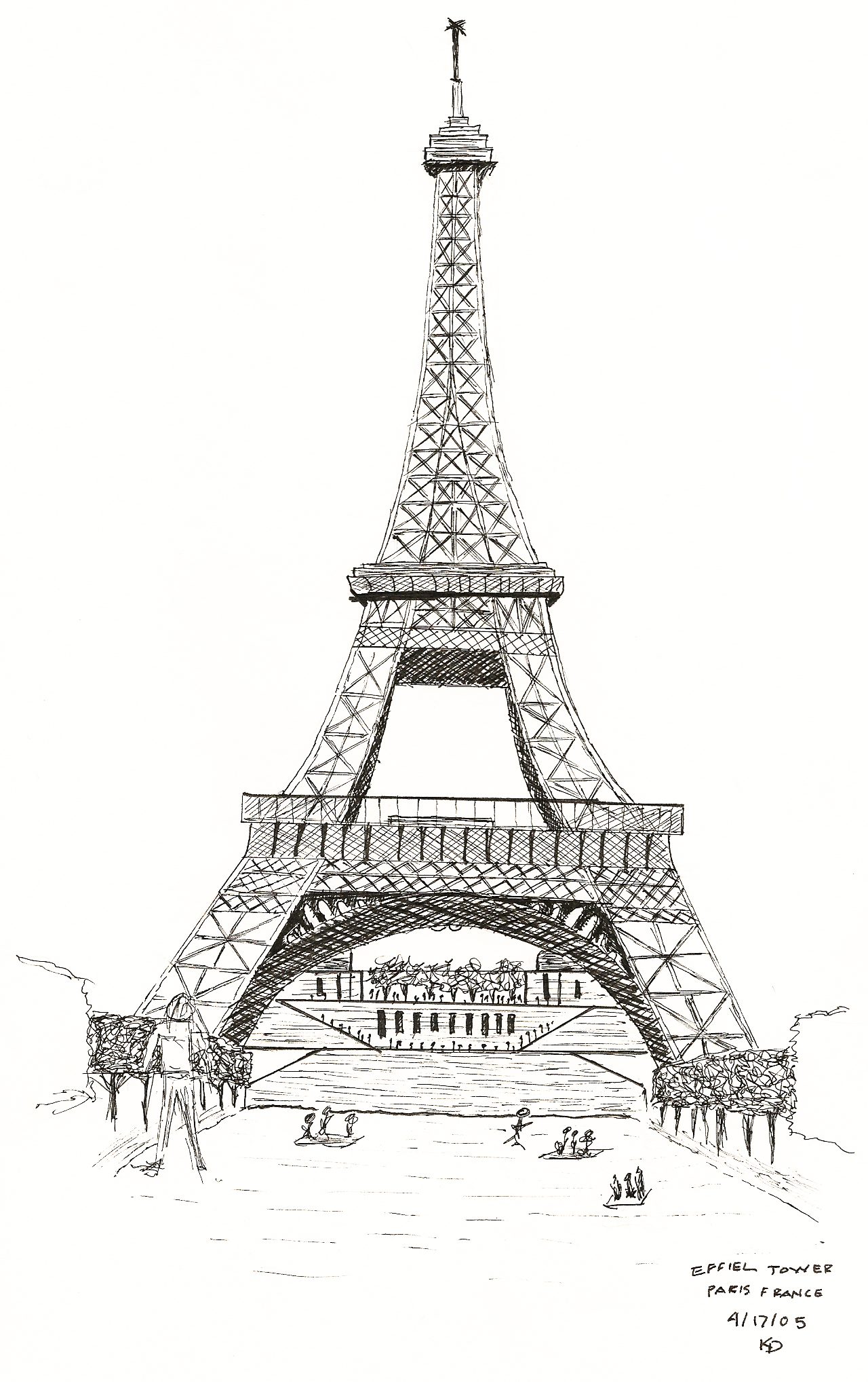 how to draw the eiffel tower with a backrounde